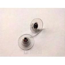 Заглушки для серег с силиконовой вставкой и пластиком, платина, F00064