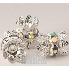 Рондель (бусина разделительная) с шапочками, 9,5 мм, серебро/хамелеон