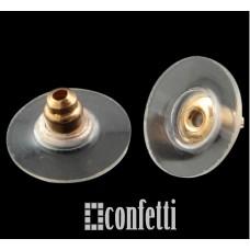 Заглушки для серег  с силиконовой вставкой и пластиком, русское золото, F00196