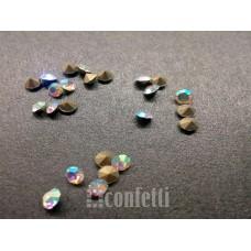 Стразы ювелирные, 2,7 мм, Бесцветные с радужным покрытием