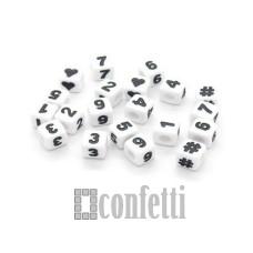 Бусины цифры и символы, цвет бело-черный, 7 мм