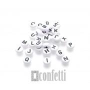 Бусины буквы английские, цвет бело-черный, таблетка, 7 мм