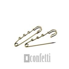 Основа для броши, булавка с тремя петлями, 65 мм, бронза, F01113