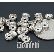 Рондель (бусина разделительная), 7,2 мм, серебро/бесцветный
