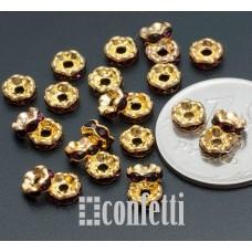 Рондель (бусина разделительная), 5 мм, золото/фиолетовый