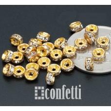 Рондель (бусина разделительная), 4 мм, золото/бесцветный