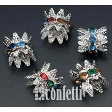 Рондель (бусина разделительная) с шапочками, 10 мм, серебро/разноцветный