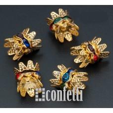 Рондель (бусина разделительная) с шапочками, 8 мм, золото/разноцветный