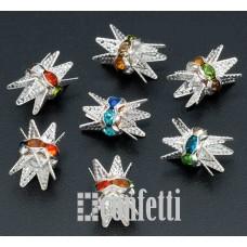Рондель (бусина разделительная) с шапочками, 6 мм, серебро/разноцветный