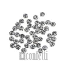 Бусины буквы русские из металлизированного акрила, 7 мм, F01227