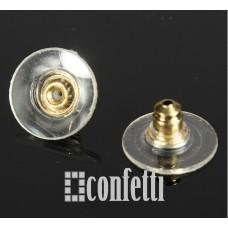 Заглушки для серег с силиконовой вставкой и пластиком, желтое золото, F01258