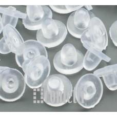 Заглушки для серёг силиконовые светло-бежевые без сквозного отверстия, F01259