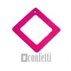 Подвеска деревянная Рамка квадратная, цвет фуксия, 4 см, F01392