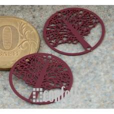 Коннектор Дерево в круге из хирургической стали, цвет бордовый, F01439