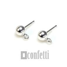 Пусеты с шариком и петелькой из хирургической стали, F01468