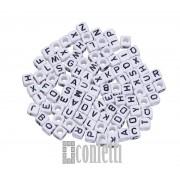 Бусины буквы английские, цвет бело-черный, куб, 6 мм, F01480