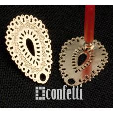 Пусеты капли ажурные из хирургической стали, 16,5*13*11 мм, F01482