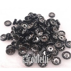 Рондель (бусина разделительная), 7 мм, темное серебро/черный
