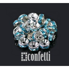 Рондель (бусина разделительная), 7 мм, серебро/голубой