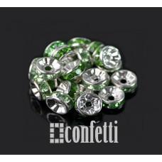 Рондель (бусина разделительная), 7 мм, серебро/зеленый