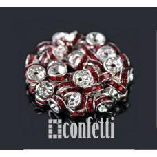 Рондель (бусина разделительная), 7 мм, серебро/красный