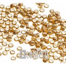 Кримпы (зажимные бусины) 2 мм, 10 шт, русское золото, F01513
