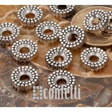 Бусина разделительная, рондель, 10*3 мм, винтажное серебро,  F01518