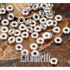 Бусина разделительная, колечко мини, 5*1,7 мм, серебро,  F01522