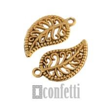Подвеска Листик ажурный, винтажное золото, F01529