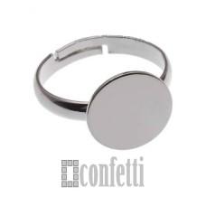 Основа для кольца из латуни, площадка 12 мм, платина, F01543