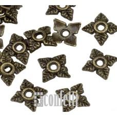 Шапочки для бусин в виде цветочных чашечек, 8 мм, бронза, F01545