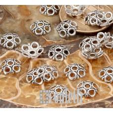 Шапочки для бусин ажурные колечки, 8,5 мм, античное серебро, F01547