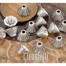 Шапочки-конусы для бусин Колоски, 8*5 мм, античное серебро, F01551