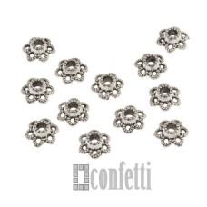 Шапочки для бусин, 7 мм, античное серебро, F01552