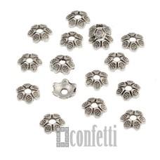 Шапочки для бусин в виде цветочных чашечек, 6 мм, античное серебро, F01553