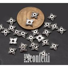 Шапочки для бусин в виде цветочных чашечек, 8 мм, античное серебро, F01554