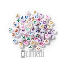 Бусины буквы русские, цветные буквы на белом фоне, таблетка 4*7 мм, F01574