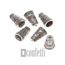 Шапочки-конусы для бусин, 10,5*7 мм, античное серебро, F01628