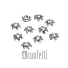 Шапочки для бусин с узором Листик, 8*3,3 мм, античное серебро, F01631