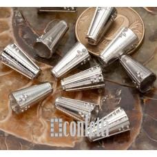 Шапочки-конусы, 13*7 мм, античное серебро, F01635