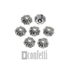 Шапочки для бусин, 9*4 мм, античное серебро, F01638