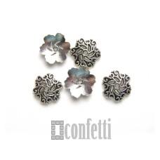 Шапочки для крупных бусин ажурные, 14*2,5 мм, античное серебро, F01640