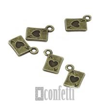 Подвеска Туз червей, цвет бронза, 11*8,5 мм, F01675