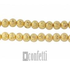 Бусины лавы 8 мм, желтое золото