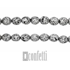 Бусины лавы 8 мм, серебро