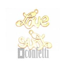 Подвеска Love, желтое золото, F00057