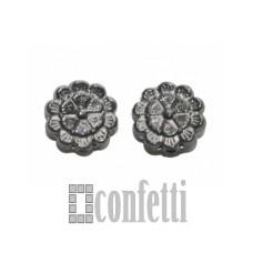 """Бусина металлическая """"Цветок"""" черная, F01362"""