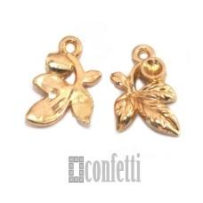 Подвеска Листья, желтое золото, 12*14*3 мм, F01605