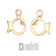 Подвеска Рыба, желтое золото, 11*12*2 мм, F01607