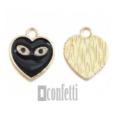 Подвеска Сердце, желтое золото, 12*13*2 мм, F01615